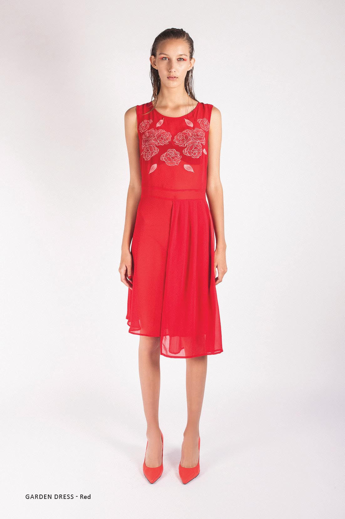 LAST SIZE / Rose Garden Dress Red - Was $290 Now $70